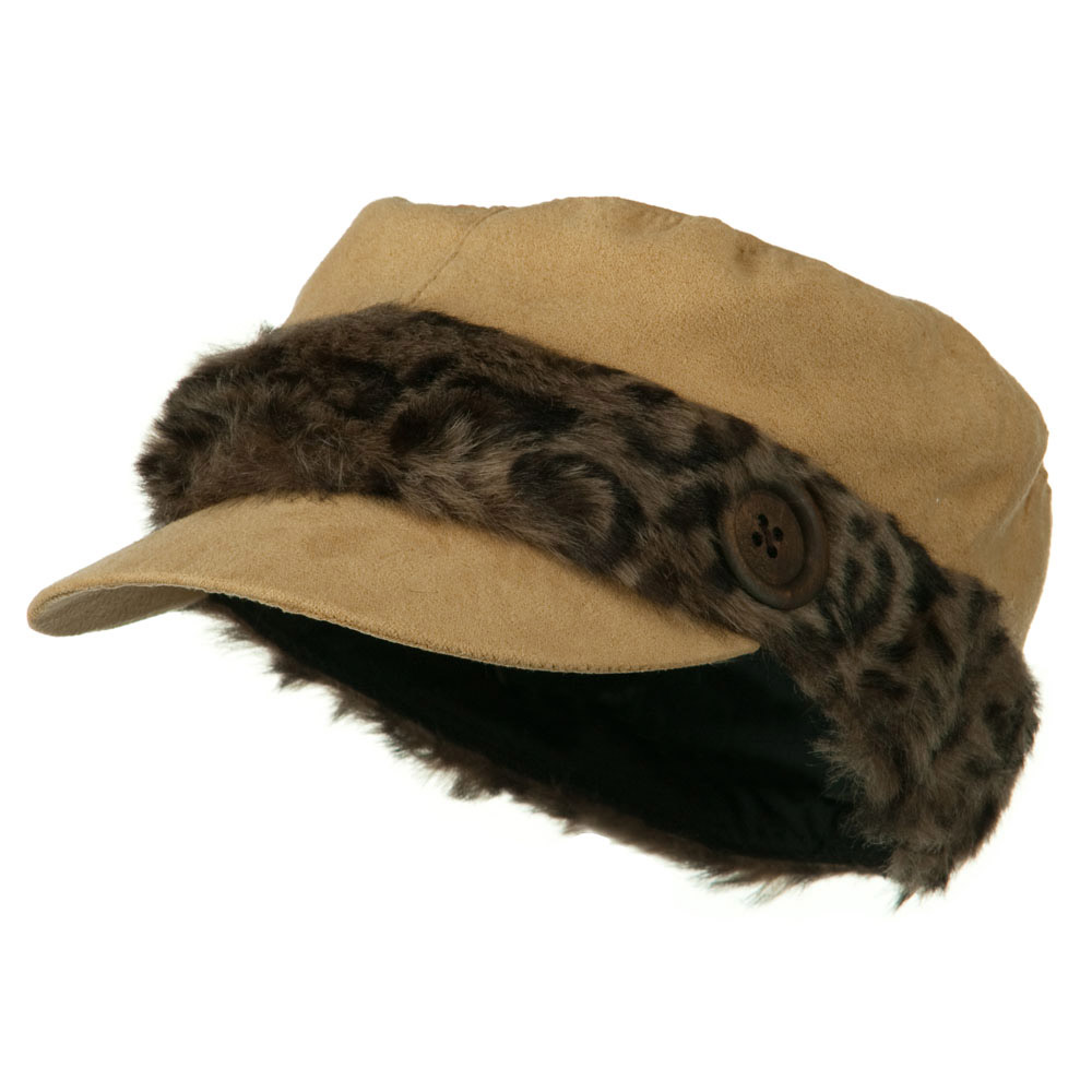Animal Fur Band Military Cap - Camel - Hats and Caps Online Shop - Hip Head Gear