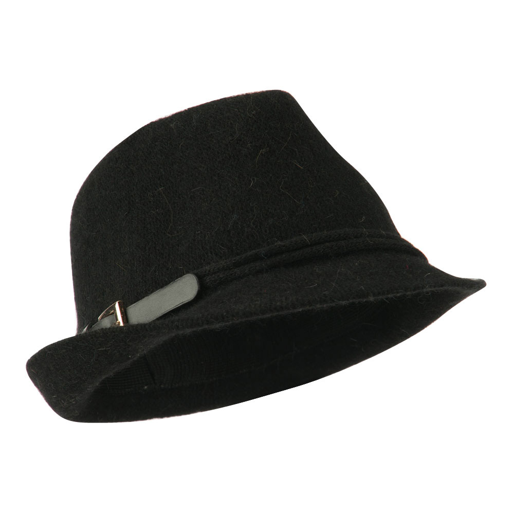 Angora Fedora with Belt Buckle Accent - Black - Hats and Caps Online Shop - Hip Head Gear