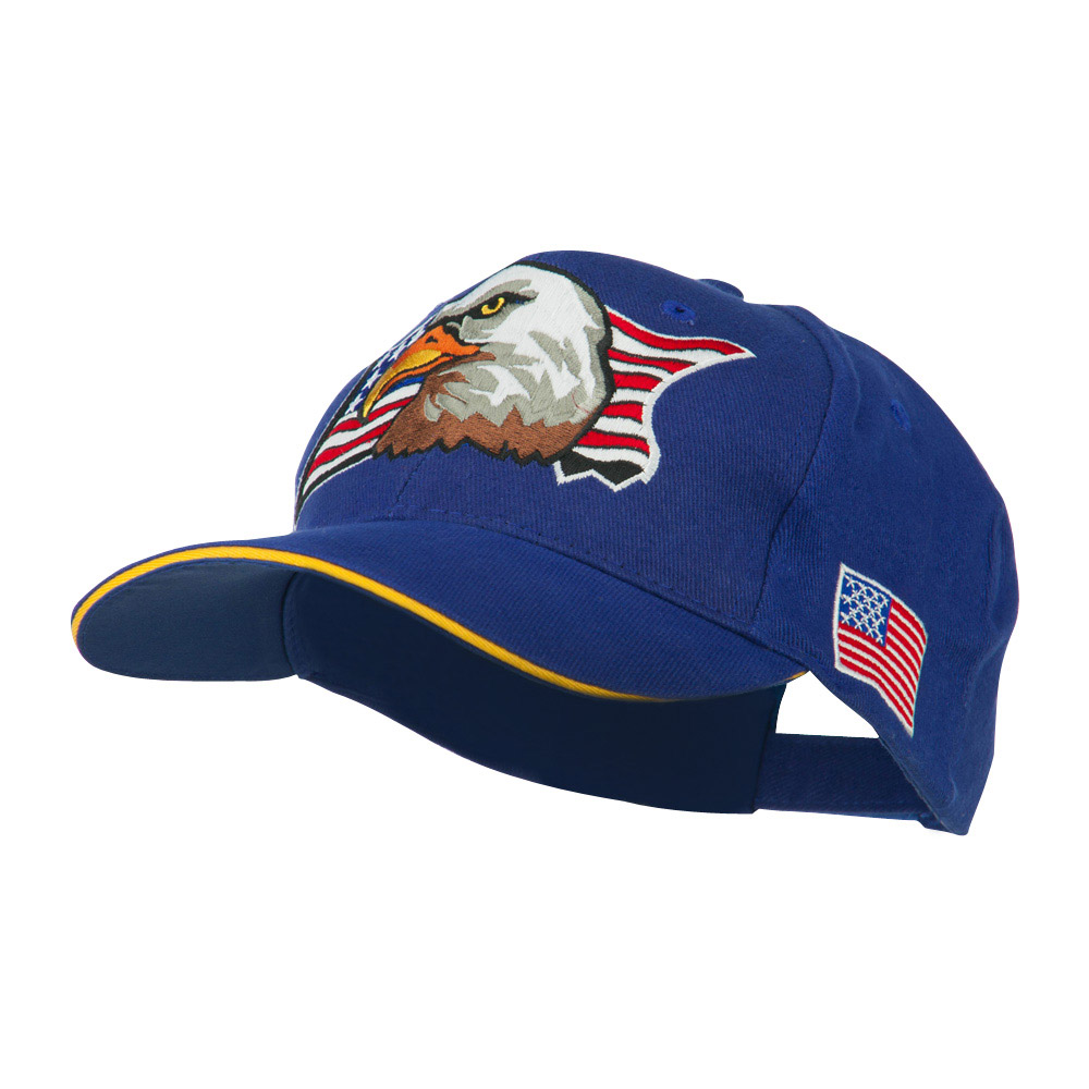 American Flag with Eagle Patched Cap - Royal - Hats and Caps Online Shop - Hip Head Gear