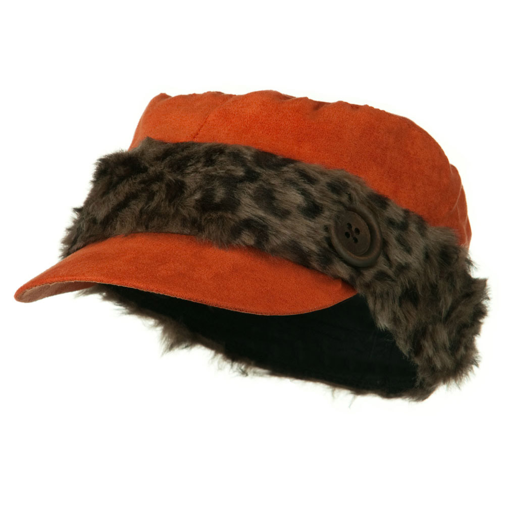 Animal Fur Band Military Cap - Orange - Hats and Caps Online Shop - Hip Head Gear