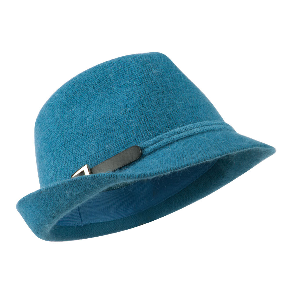 Angora Fedora with Belt Buckle Accent - Blue - Hats and Caps Online Shop - Hip Head Gear
