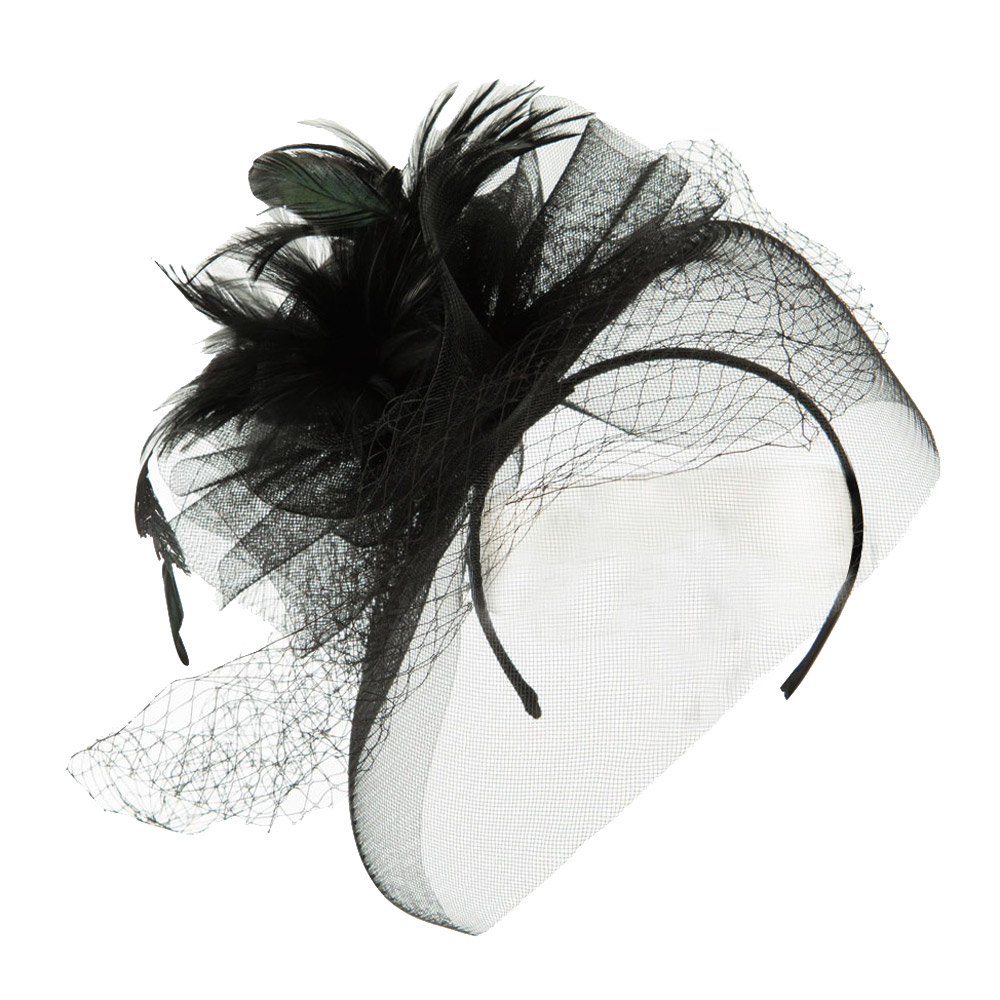 Flower and Feather Accented Fascinator - Black - Hats and Caps Online Shop - Hip Head Gear