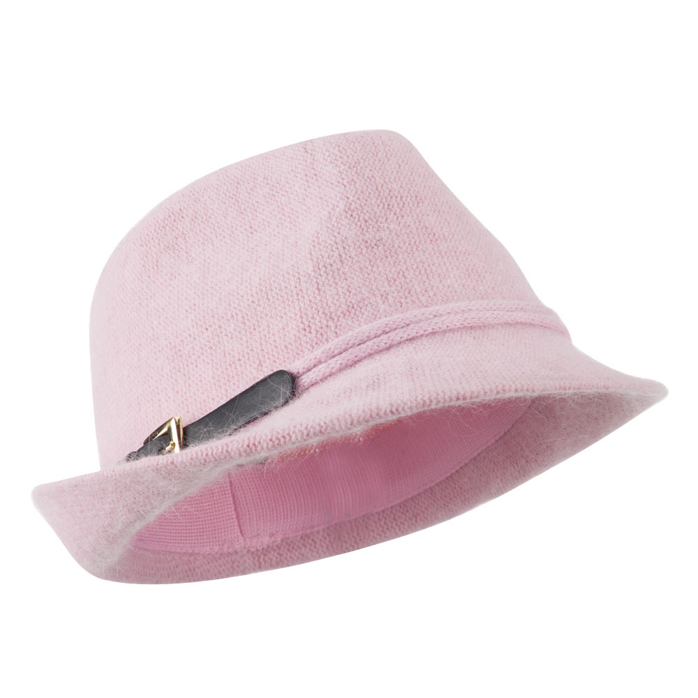 Angora Fedora with Belt Buckle Accent - Pink - Hats and Caps Online Shop - Hip Head Gear