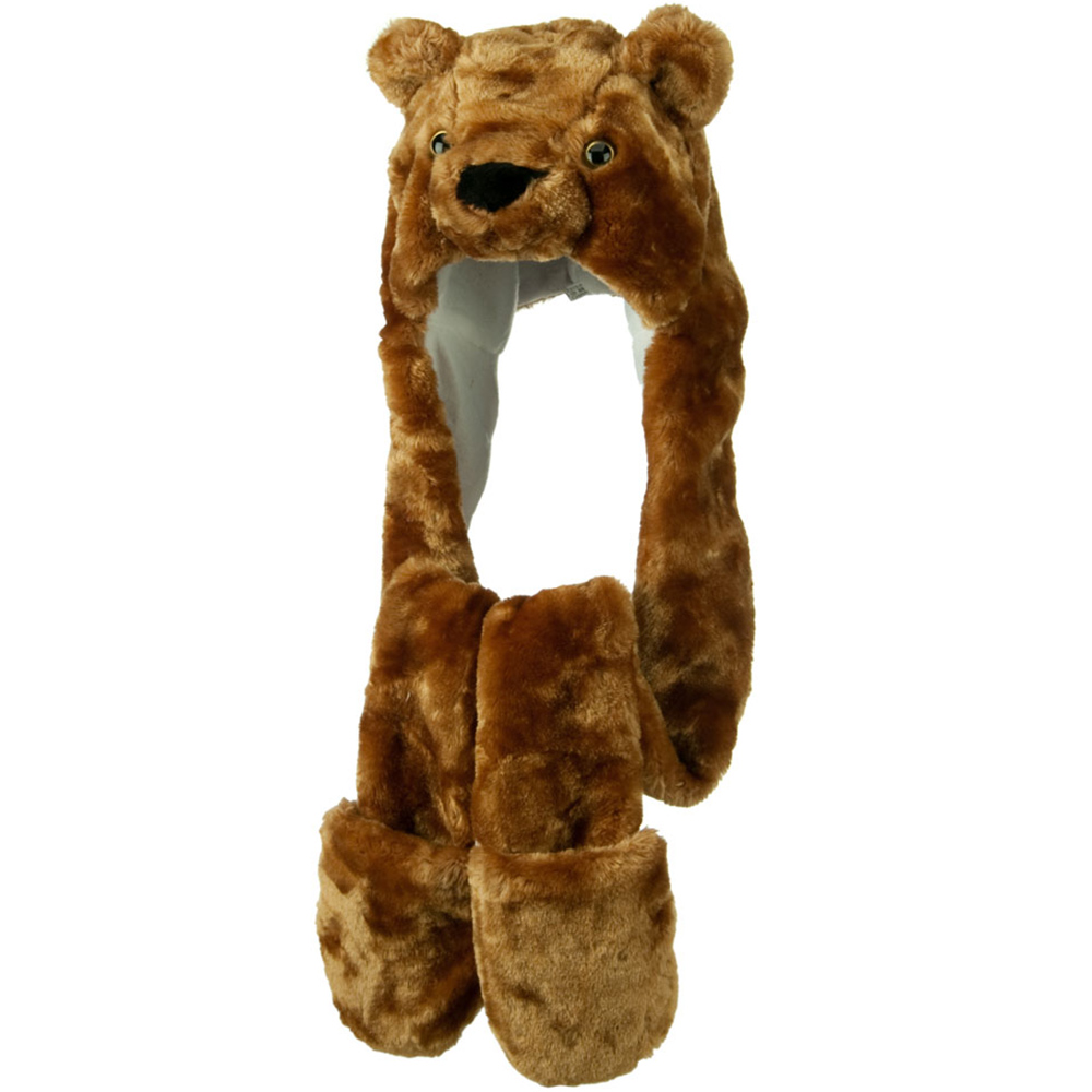 Long Animal Faux Fur Hat - Brown Bear - Hats and Caps Online Shop - Hip Head Gear