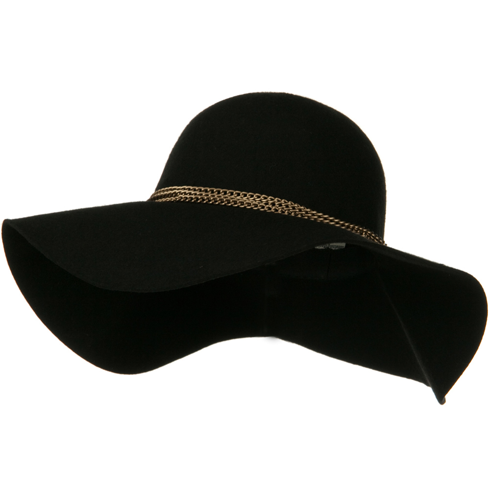 Antique Gold Chain Wool Felt Hat - Black - Hats and Caps Online Shop - Hip Head Gear