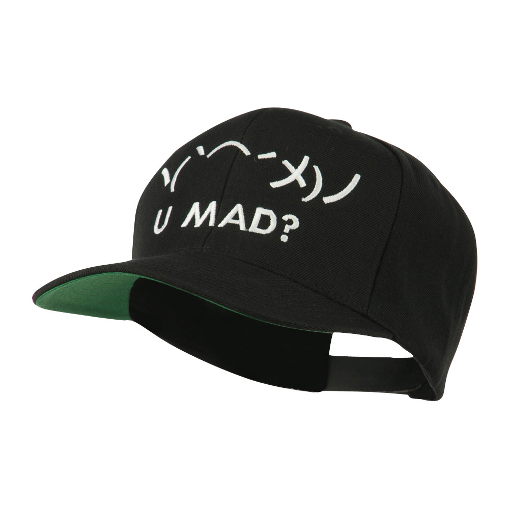 Angry Text Emoticon Embroidered Snapback Cap - Black - Hats and Caps Online Shop - Hip Head Gear