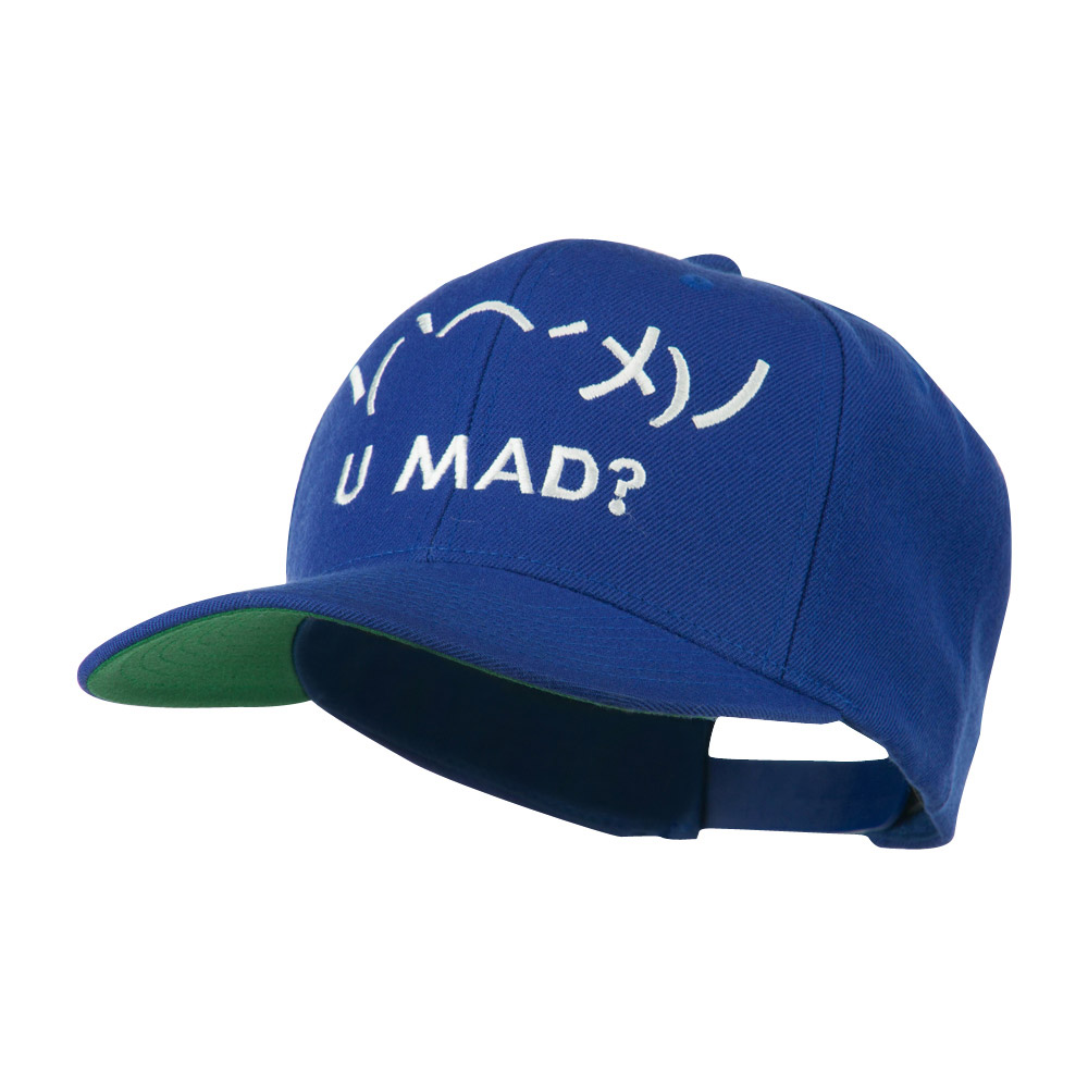 Angry Text Emoticon Embroidered Snapback Cap - Royal - Hats and Caps Online Shop - Hip Head Gear