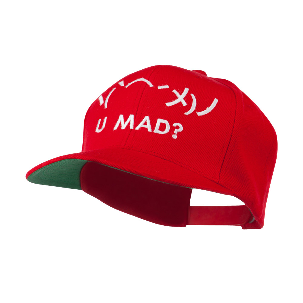 Angry Text Emoticon Embroidered Snapback Cap - Red - Hats and Caps Online Shop - Hip Head Gear