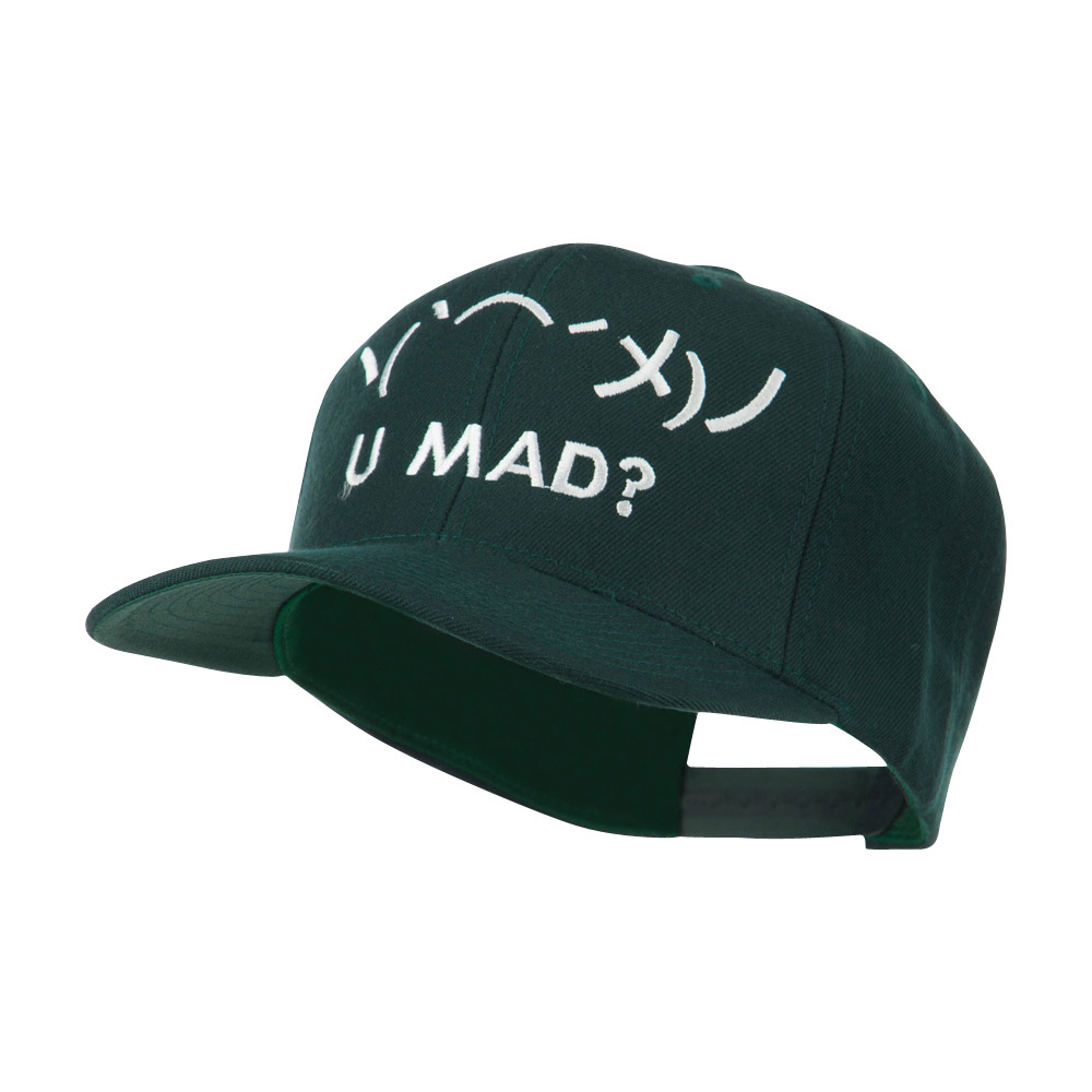 Angry Text Emoticon Embroidered Snapback Cap - Spruce - Hats and Caps Online Shop - Hip Head Gear