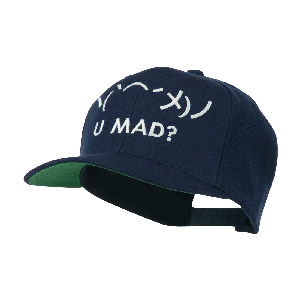 Angry Text Emoticon Embroidered Snapback Cap - Navy - Hats and Caps Online Shop - Hip Head Gear