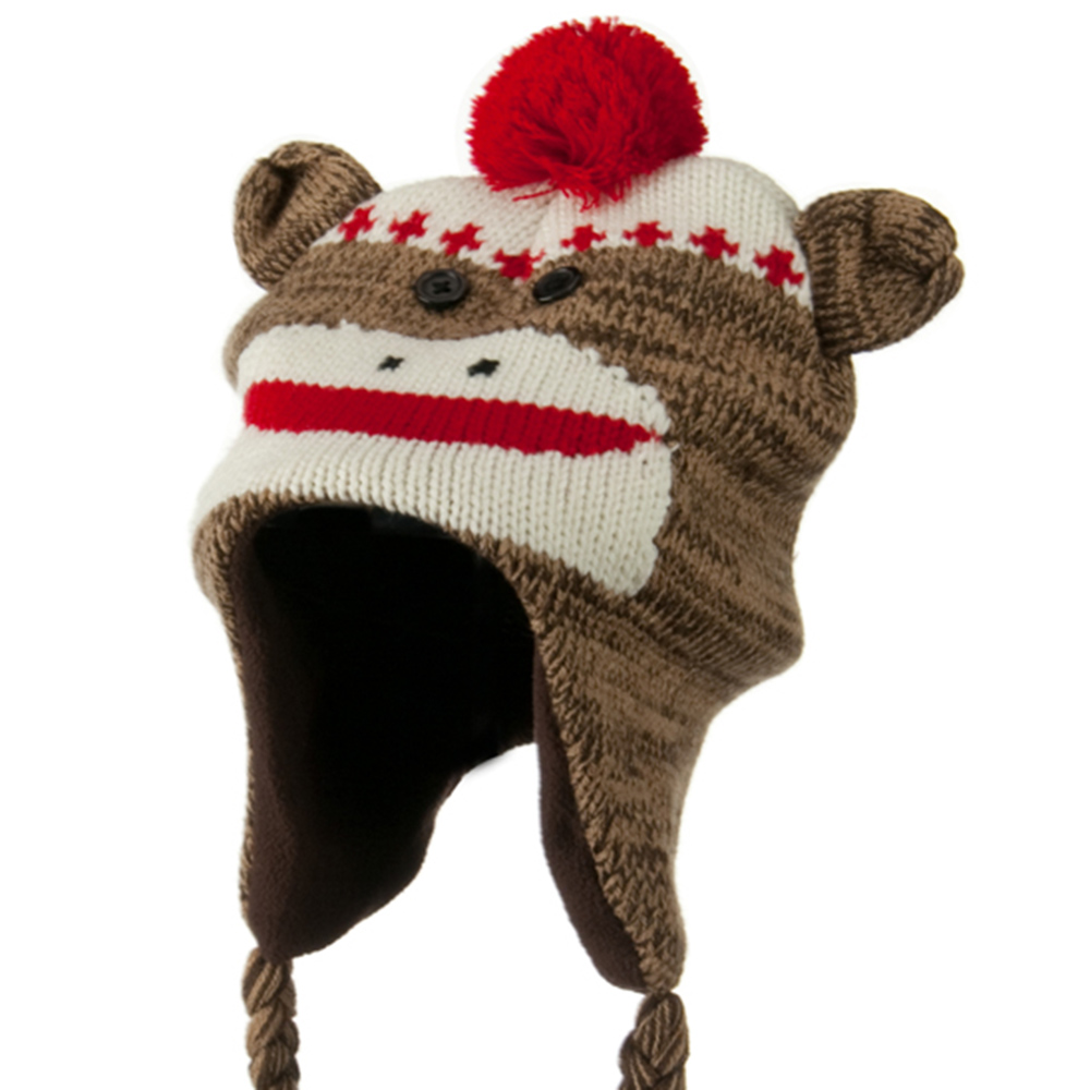 Kids Knit Hat with Animal Charactor - Sock Monkey - Hats and Caps Online Shop - Hip Head Gear