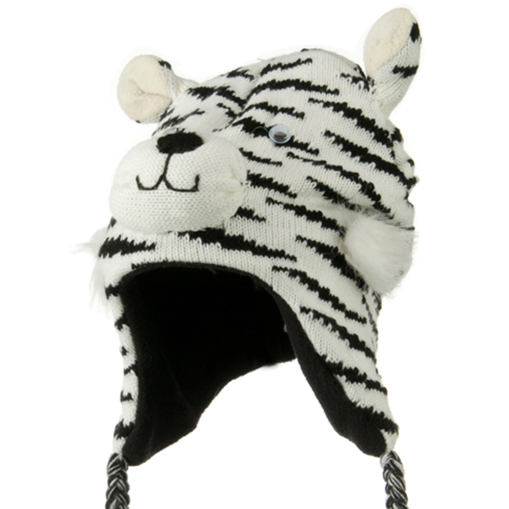 Kids Knit Hat with Animal Charactor - White Tiger - Hats and Caps Online Shop - Hip Head Gear