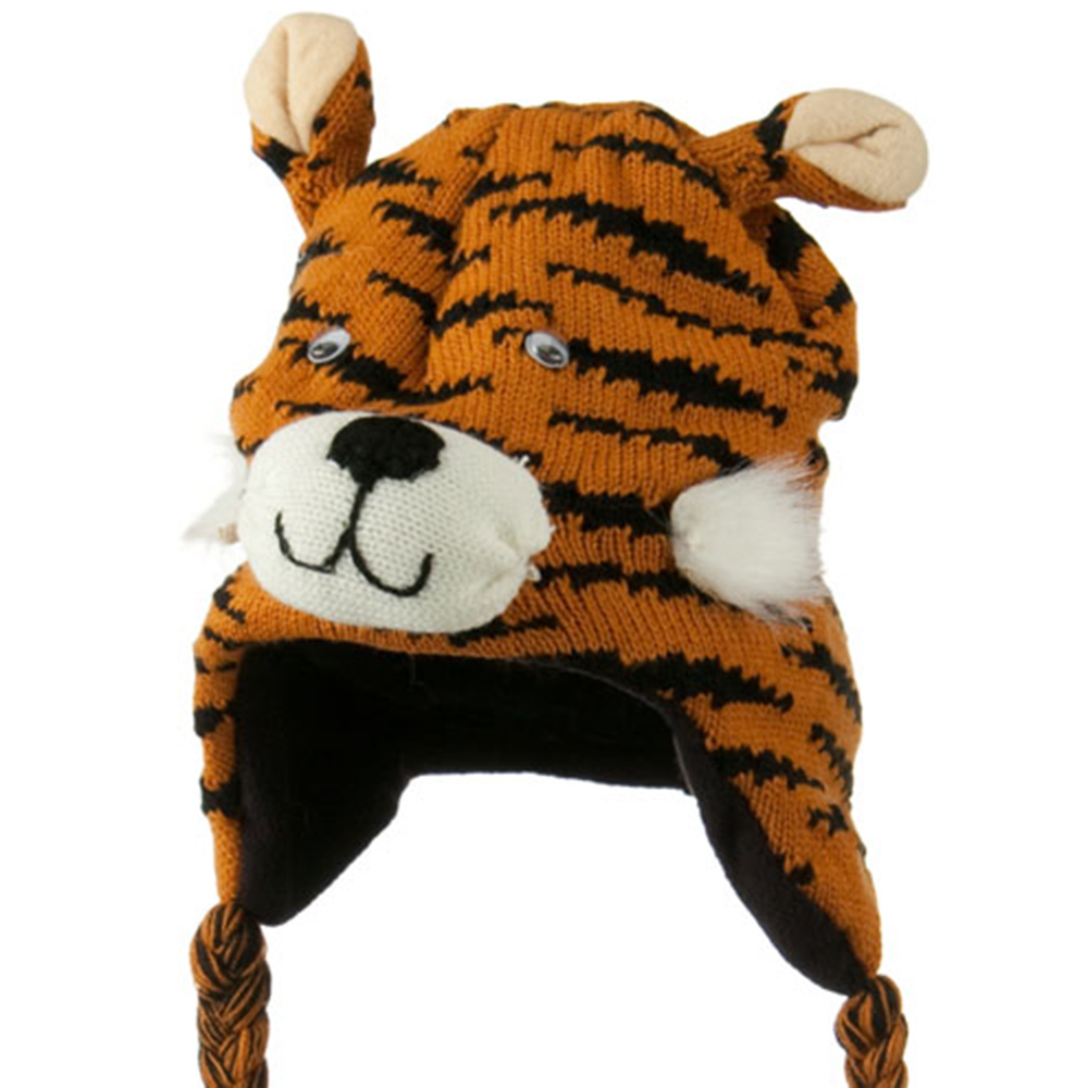 Kids Knit Hat with Animal Charactor - Tiger - Hats and Caps Online Shop - Hip Head Gear