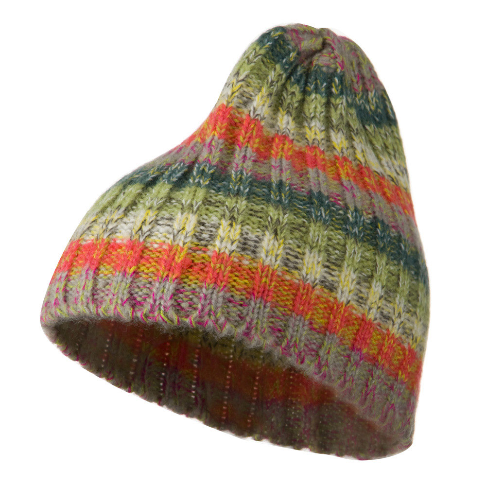 Woman's Acrylic Multi Beanie - Green Rainbow - Hats and Caps Online Shop - Hip Head Gear