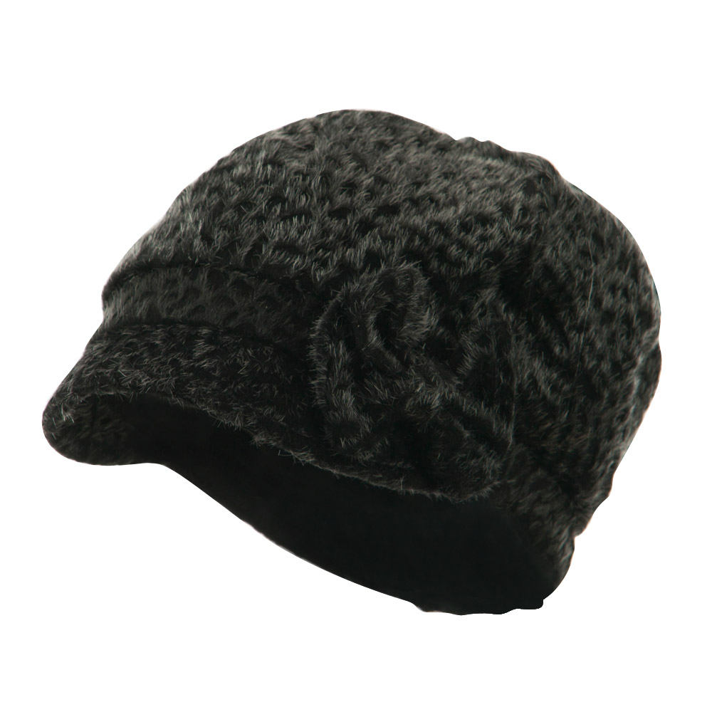 Animal Print Bow Accent Newsboy Hat - Black - Hats and Caps Online Shop - Hip Head Gear