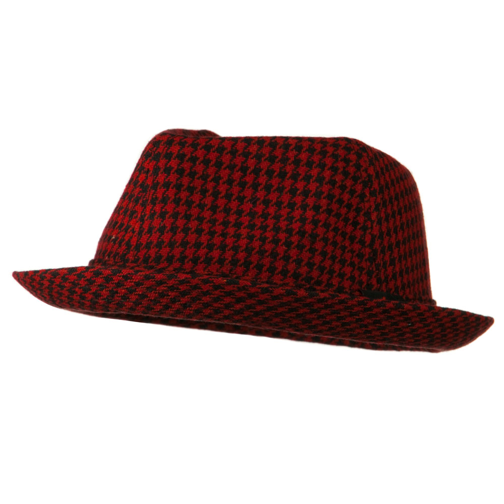 Boys Acrylic Blend Mini Herringbone Fedora - Red Black - Hats and Caps Online Shop - Hip Head Gear
