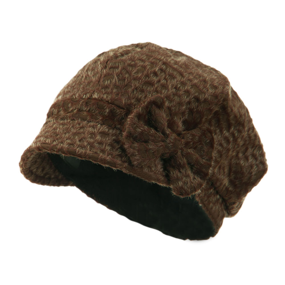 Animal Print Bow Accent Newsboy Hat - Coffee - Hats and Caps Online Shop - Hip Head Gear