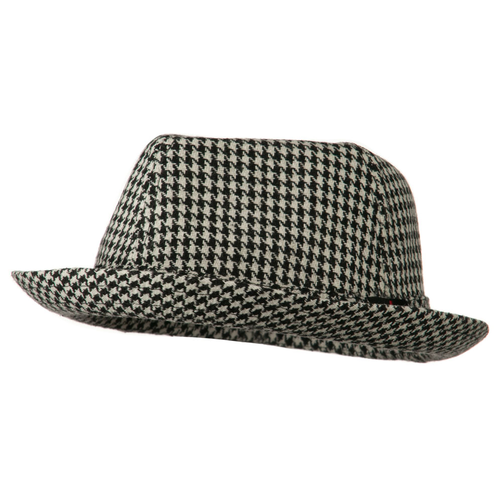 Boys Acrylic Blend Mini Herringbone Fedora - Black White - Hats and Caps Online Shop - Hip Head Gear