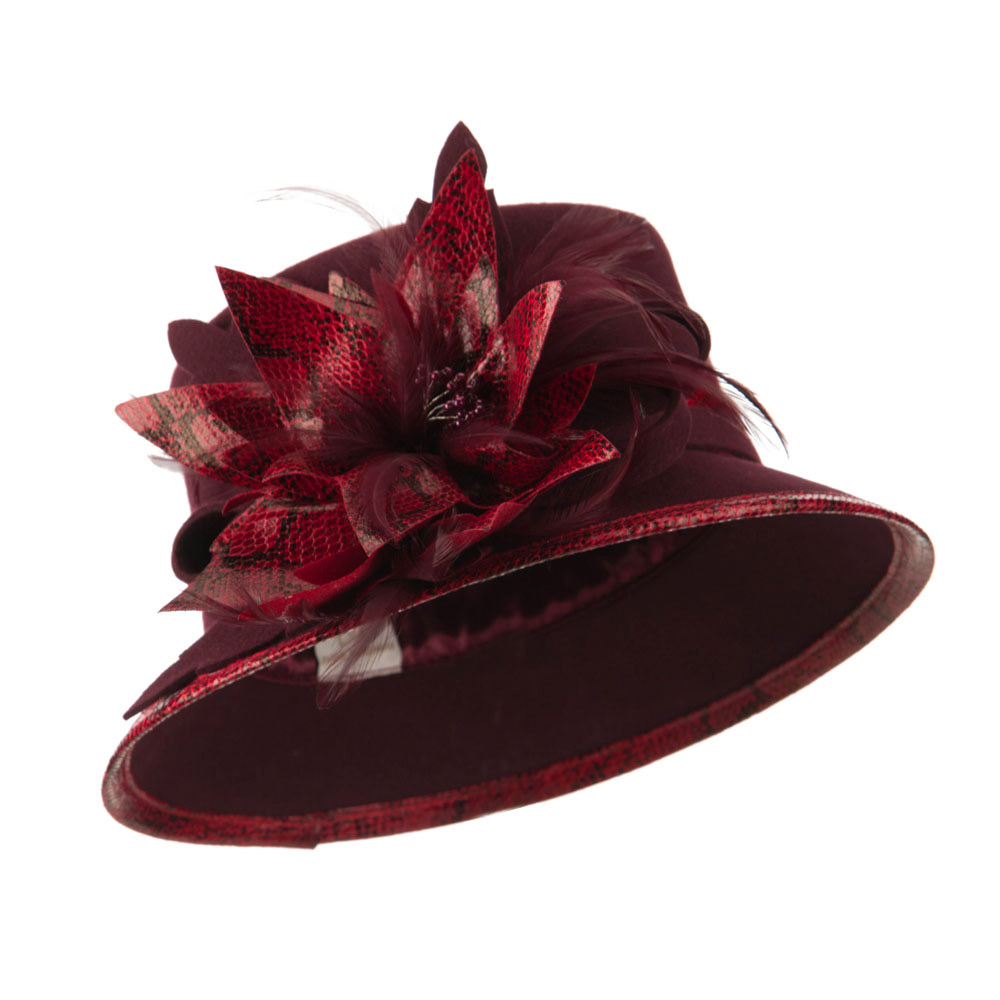 Animal Print Trimming Wool Felt Dressy Hat - Burgundy - Hats and Caps Online Shop - Hip Head Gear