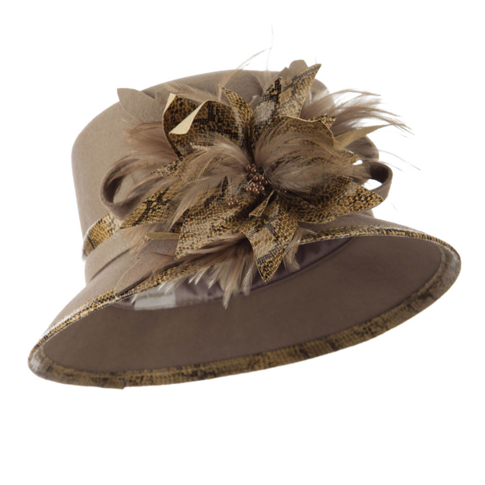 Animal Print Trimming Wool Felt Dressy Hat - Taupe - Hats and Caps Online Shop - Hip Head Gear