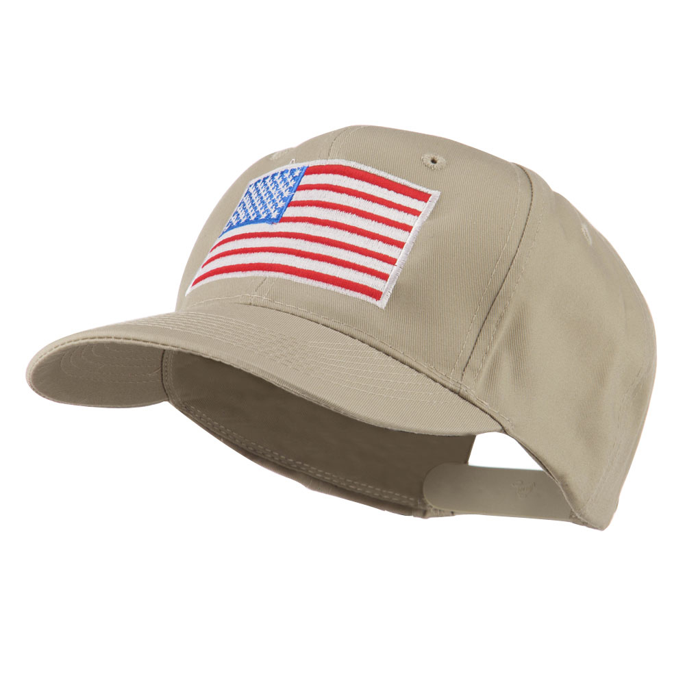 American Flag Embroidered Cap - Khaki - Hats and Caps Online Shop - Hip Head Gear
