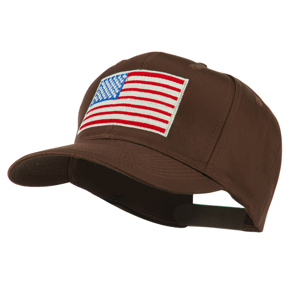 American Flag Embroidered Cap - Brown - Hats and Caps Online Shop - Hip Head Gear