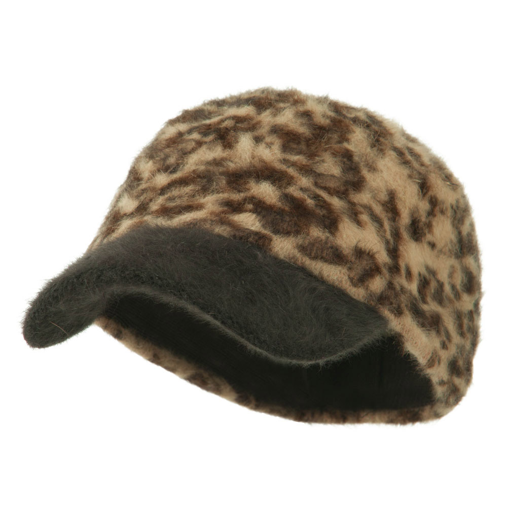 Animal Print Angora Military Cap - Brown - Hats and Caps Online Shop - Hip Head Gear