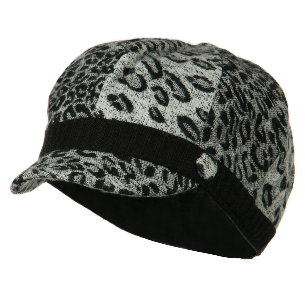 Animal Print Newsboy Cap - Black - Hats and Caps Online Shop - Hip Head Gear