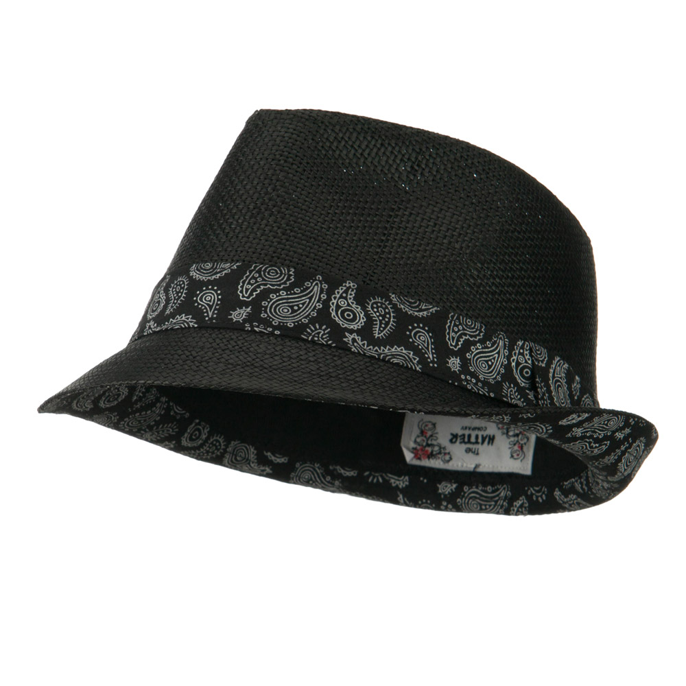 Abstract Printed Band Straw Fedora Hat - Black - Hats and Caps Online Shop - Hip Head Gear