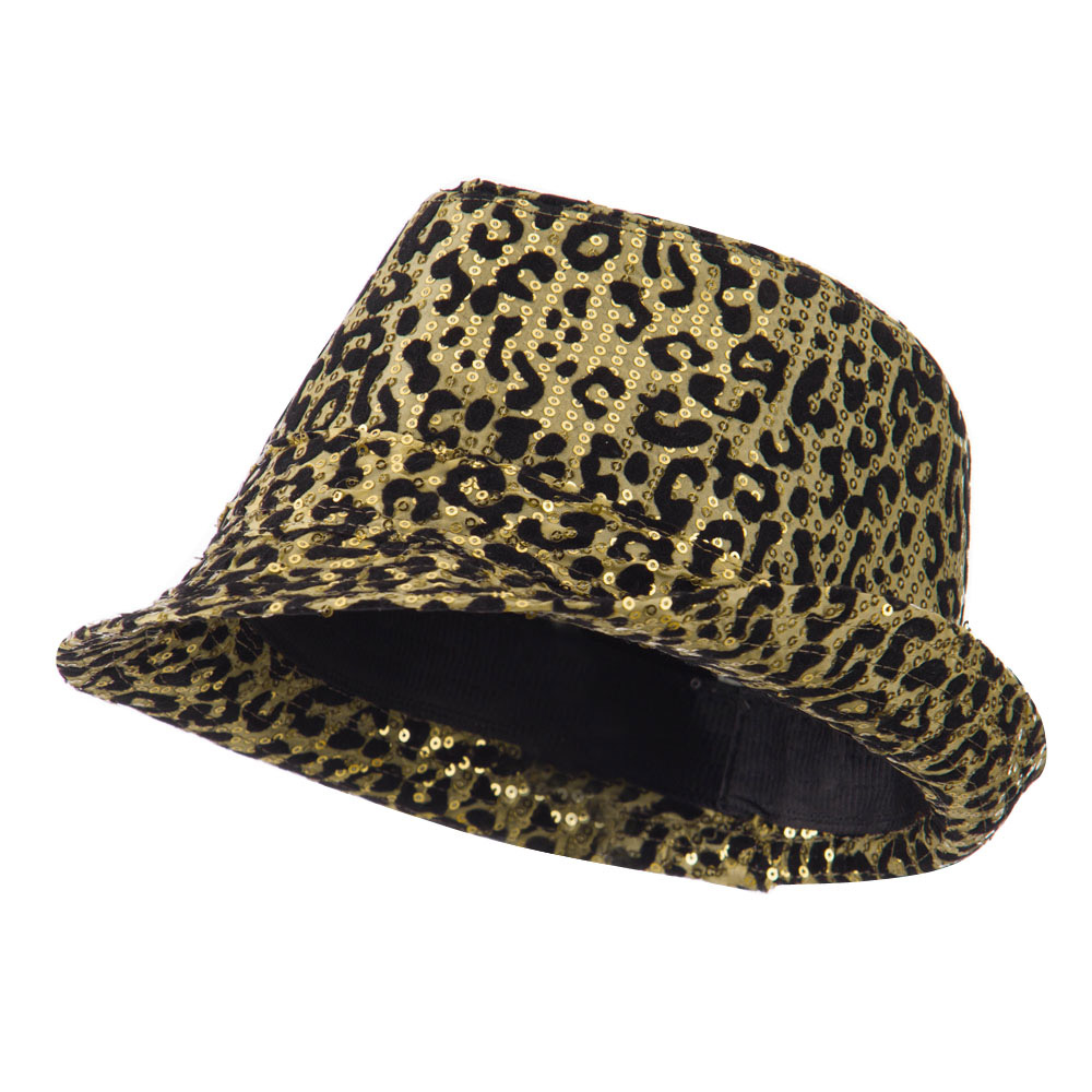 Animal Print Sequin Fedora - Gold - Hats and Caps Online Shop - Hip Head Gear