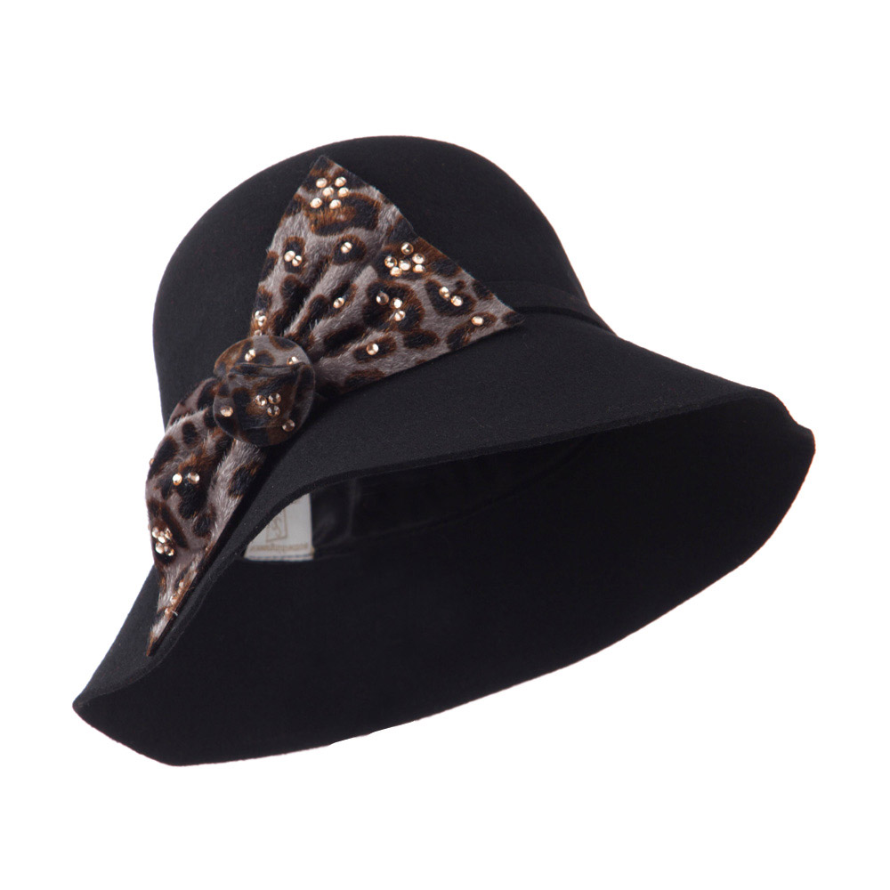Wool Felt Hat with Animal Print Bow - Black - Hats and Caps Online Shop - Hip Head Gear