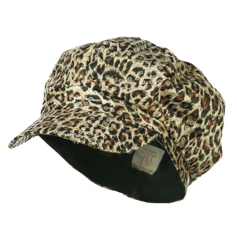 Animal Print Sequin Newsboy Cap - Brown - Hats and Caps Online Shop - Hip Head Gear