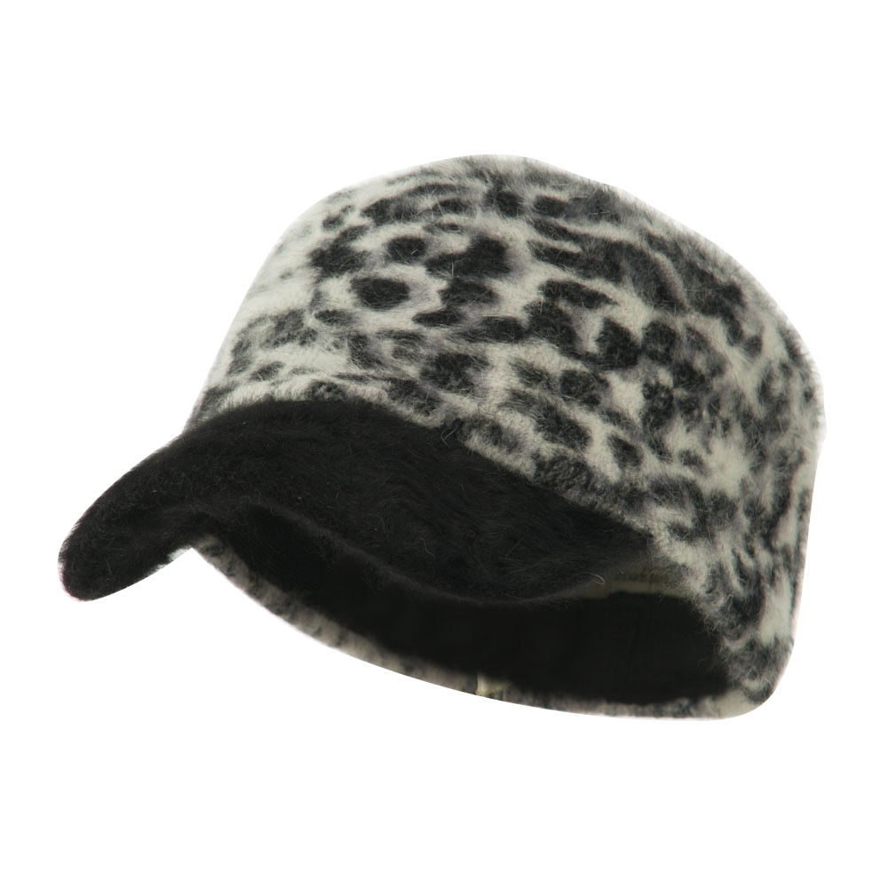 Animal Print Angora Military Cap - Grey - Hats and Caps Online Shop - Hip Head Gear
