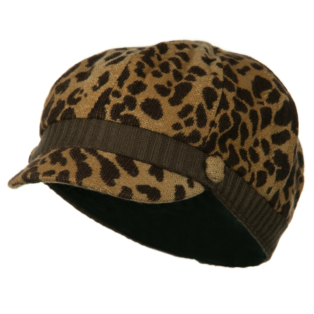 Animal Print Newsboy Cap - Brown - Hats and Caps Online Shop - Hip Head Gear