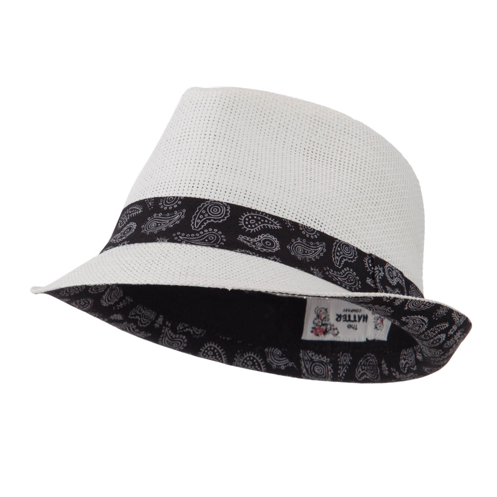 Abstract Printed Band Straw Fedora Hat - White - Hats and Caps Online Shop - Hip Head Gear