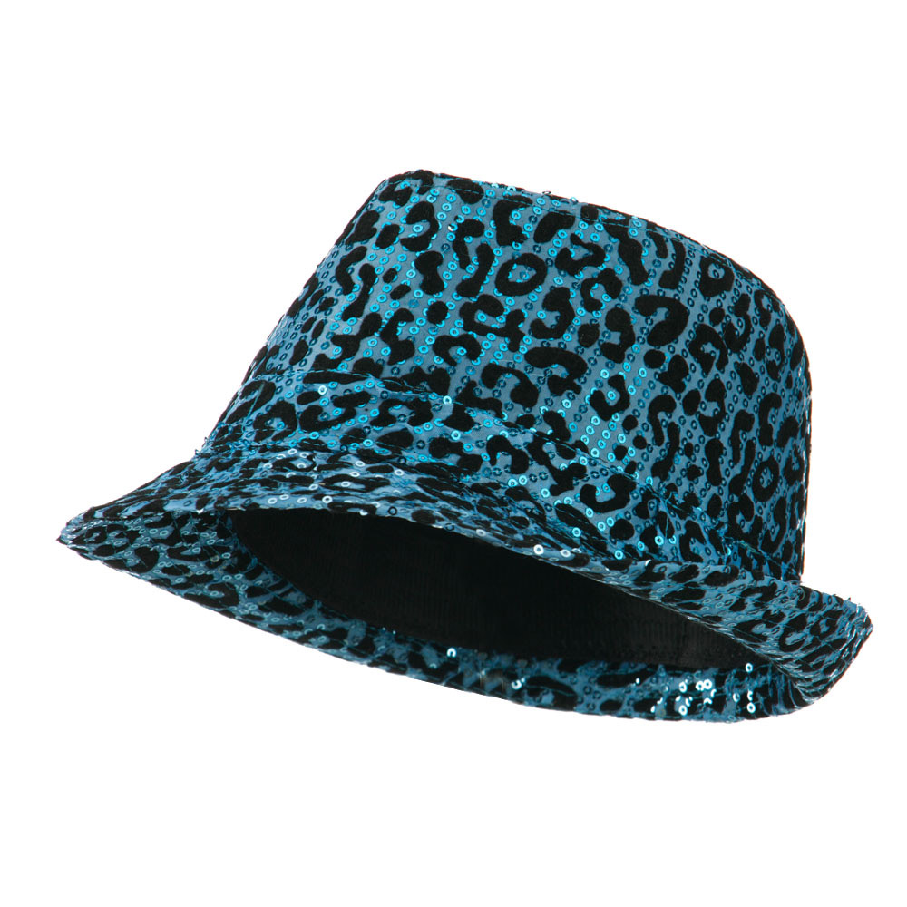 Animal Print Sequin Fedora - Turquoise - Hats and Caps Online Shop - Hip Head Gear
