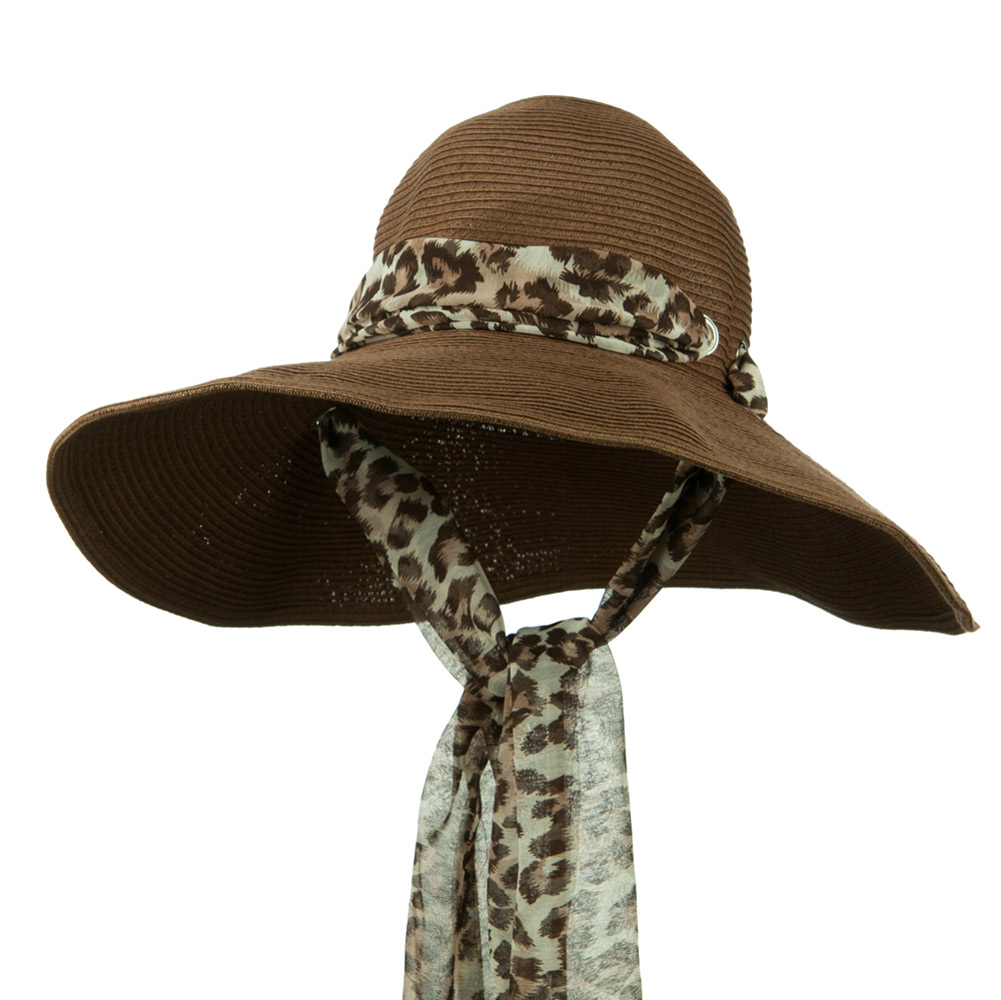 Animal Print Scarf Accent Paper Braid Hat - Brown - Hats and Caps Online Shop - Hip Head Gear