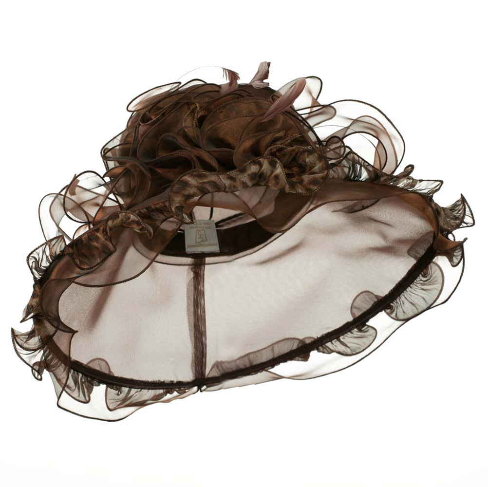Animal Print Organza Hat - Brown - Hats and Caps Online Shop - Hip Head Gear