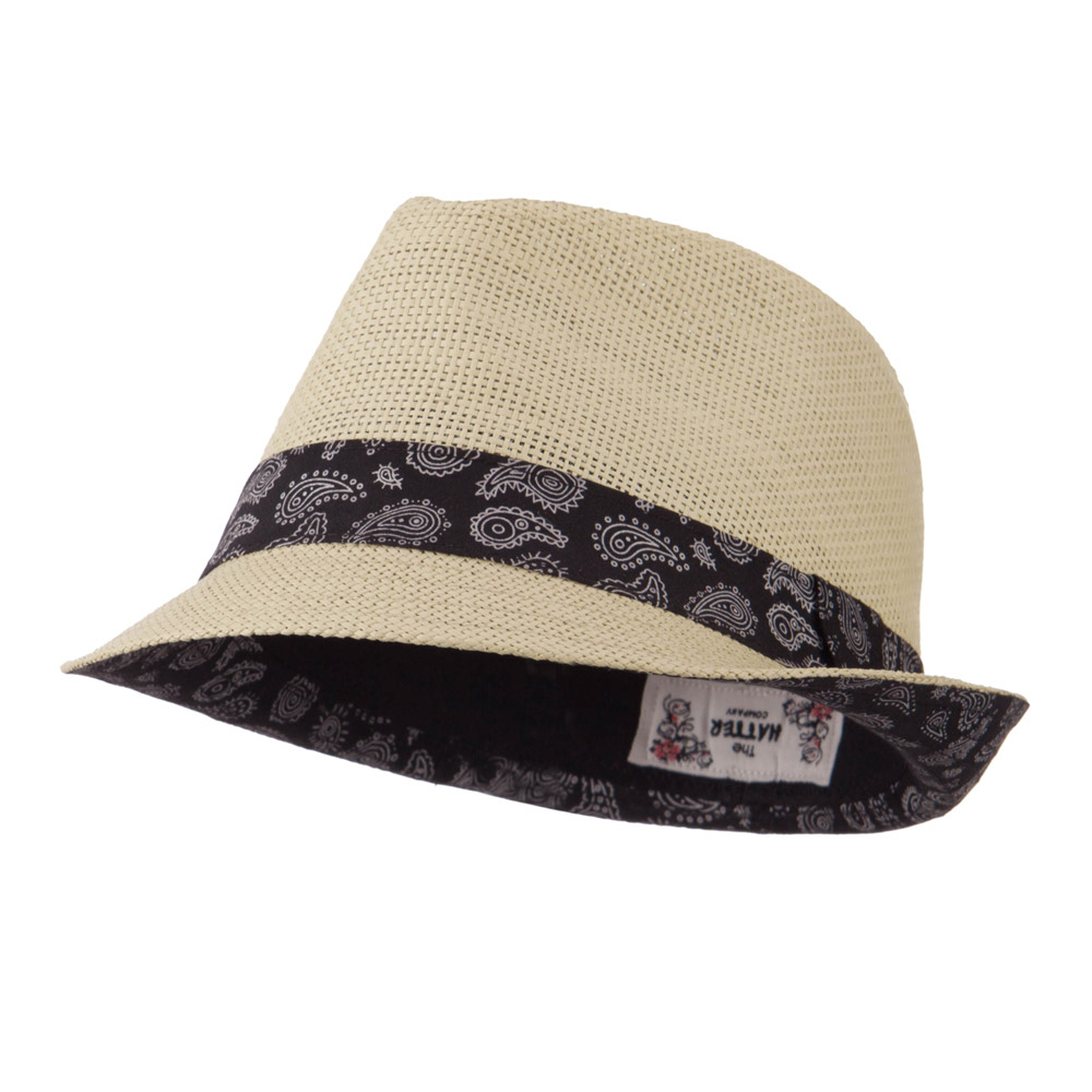 Abstract Printed Band Straw Fedora Hat - Tan - Hats and Caps Online Shop - Hip Head Gear