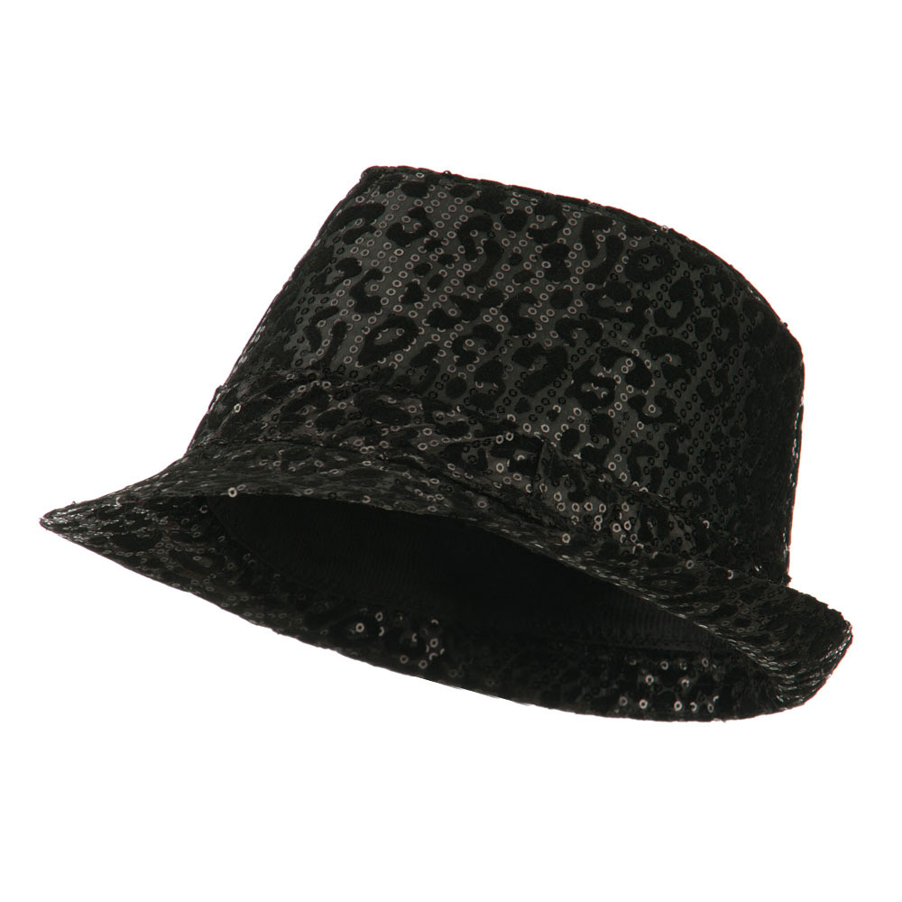 Animal Print Sequin Fedora - Black - Hats and Caps Online Shop - Hip Head Gear