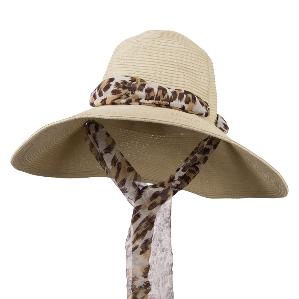 Animal Print Scarf Accent Paper Braid Hat - Natural - Hats and Caps Online Shop - Hip Head Gear