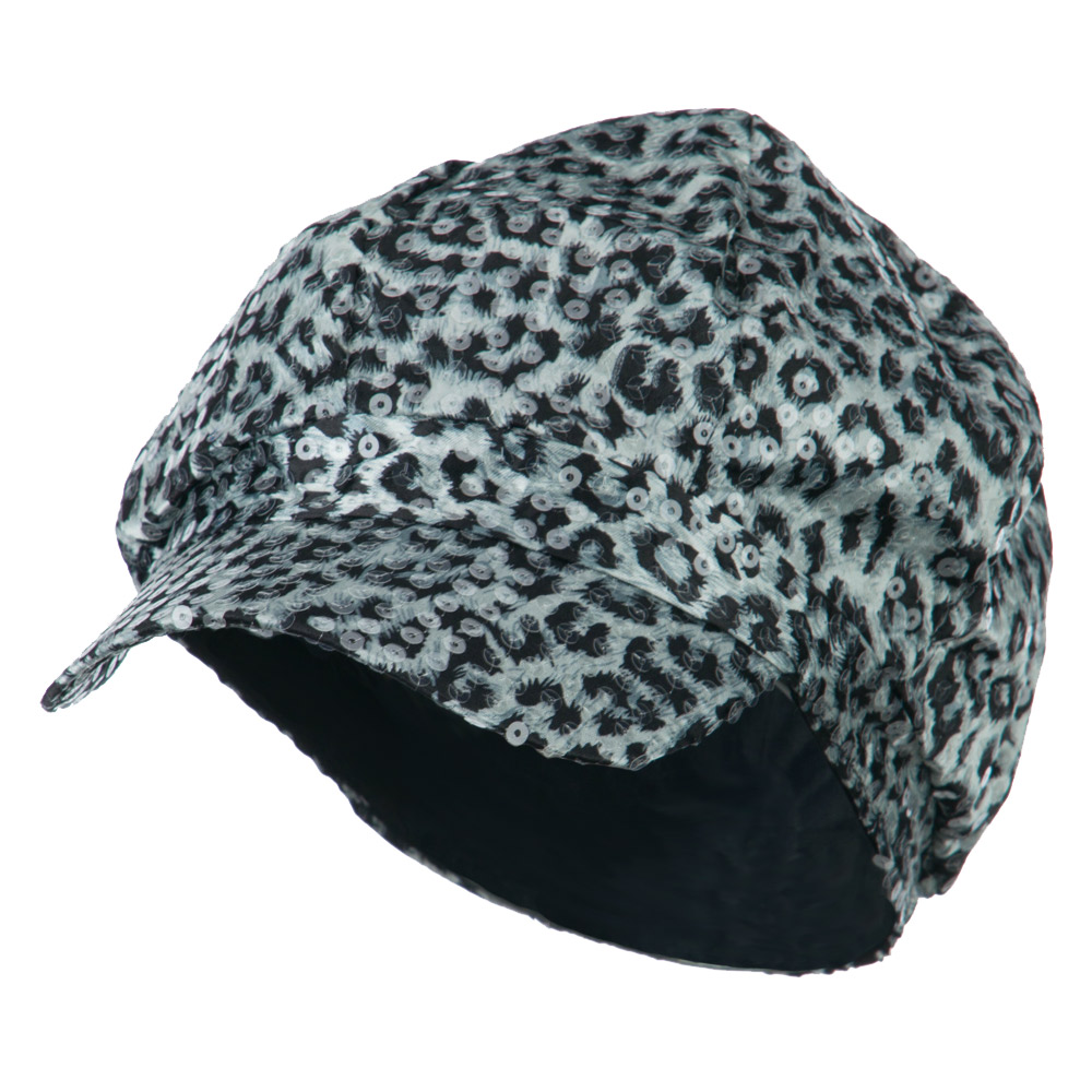 Animal Print Sequin Newsboy Cap - White Black - Hats and Caps Online Shop - Hip Head Gear