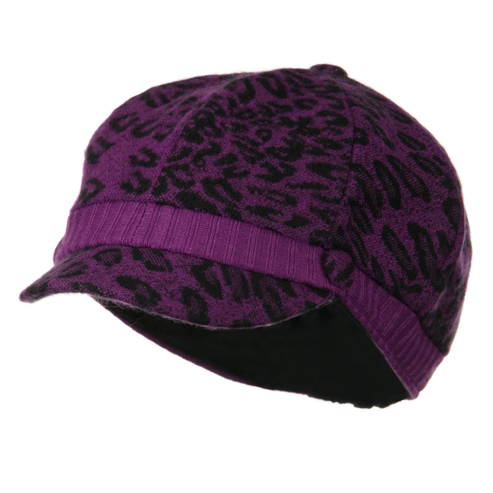 Animal Print Newsboy Cap - Purple - Hats and Caps Online Shop - Hip Head Gear