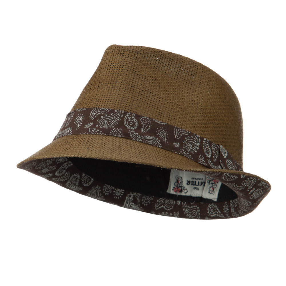 Abstract Printed Band Straw Fedora Hat - Brown - Hats and Caps Online Shop - Hip Head Gear