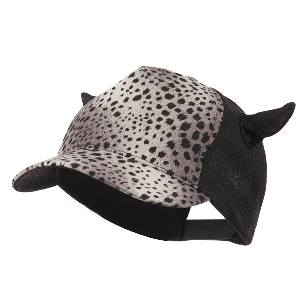 Animal Print Horn Cap with Mesh Back - Grey - Hats and Caps Online Shop - Hip Head Gear
