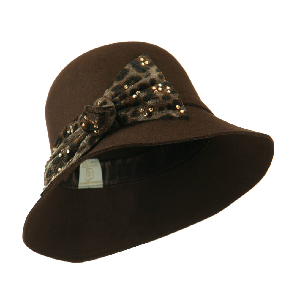 Wool Felt Hat with Animal Print Bow - Brown - Hats and Caps Online Shop - Hip Head Gear