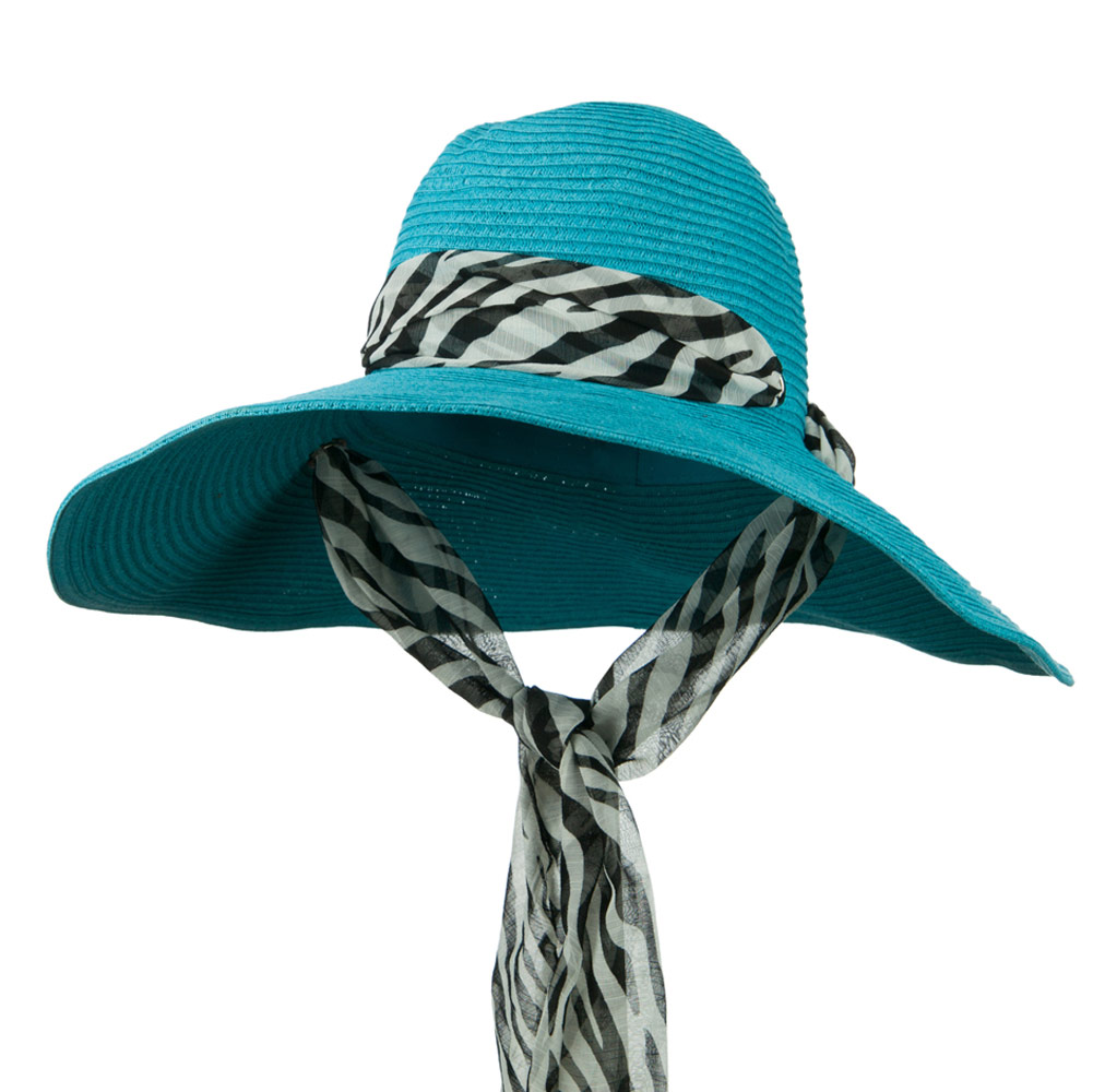 Animal Print Scarf Accent Paper Braid Hat - Turquoise - Hats and Caps Online Shop - Hip Head Gear