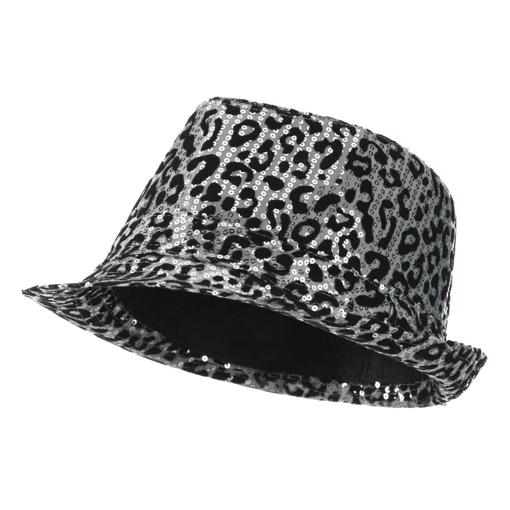 Animal Print Sequin Fedora - Silver - Hats and Caps Online Shop - Hip Head Gear