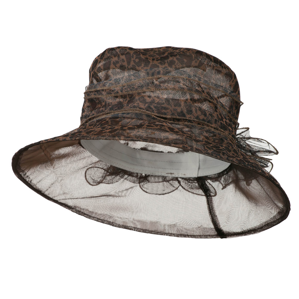 Leopard Print Ruffle Flower Organza Hat - Brown - Hats and Caps Online Shop - Hip Head Gear