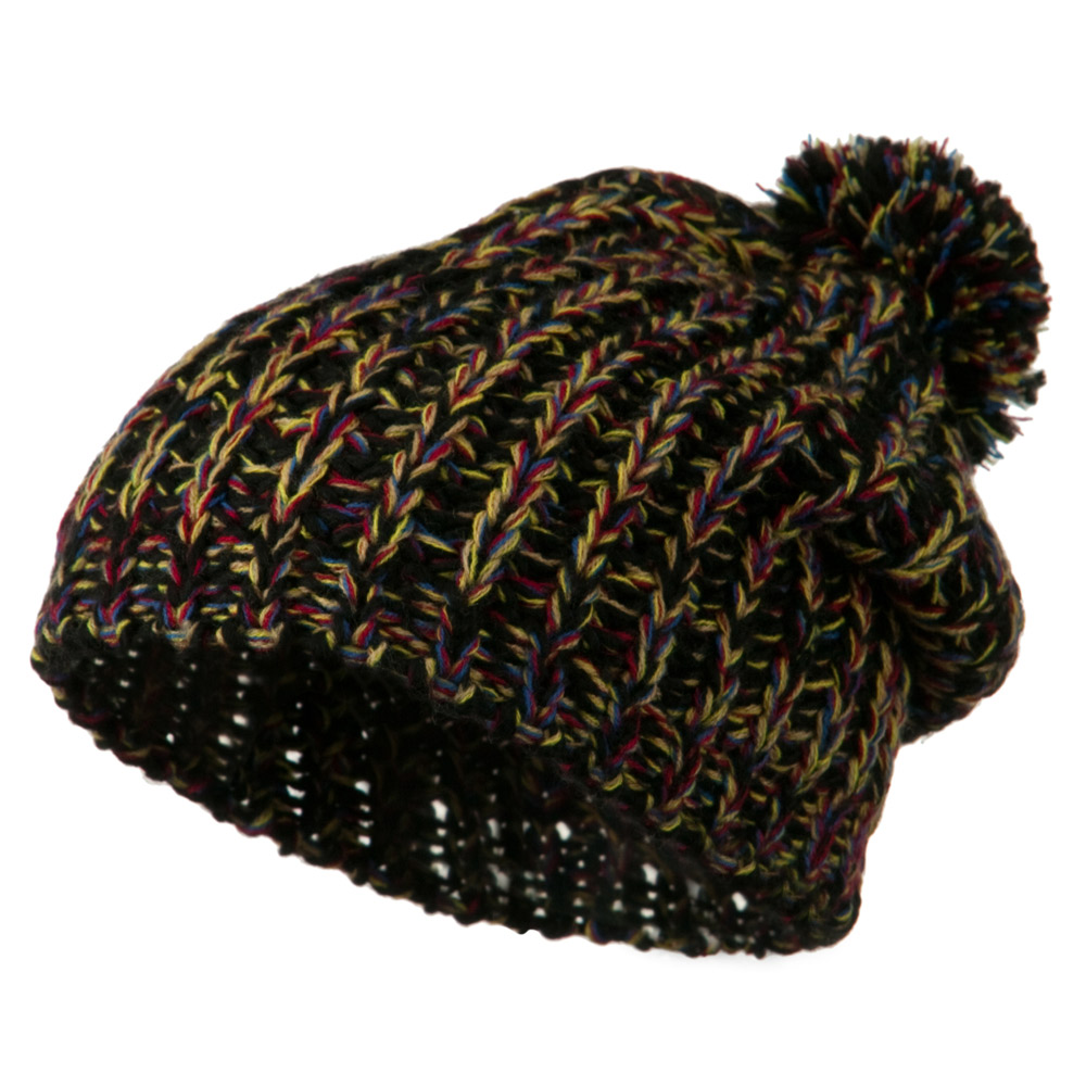 Woman's Acrylic Rainbow Beanie - Black - Hats and Caps Online Shop - Hip Head Gear